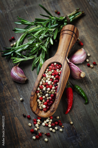 spices on a wooden board - 48655523
