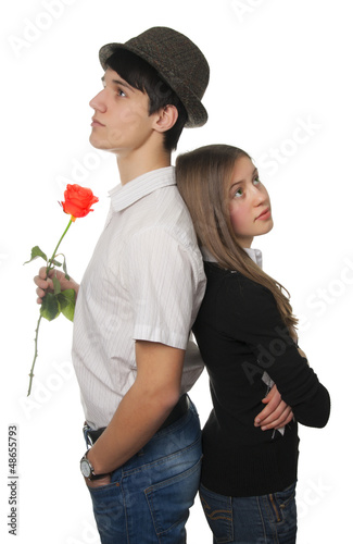Young couple after quarrelling