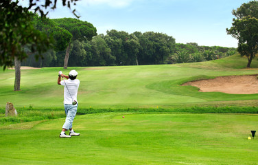 Golfplatz Golfspieler beim Abschlag – Golf Course Golfer teeing