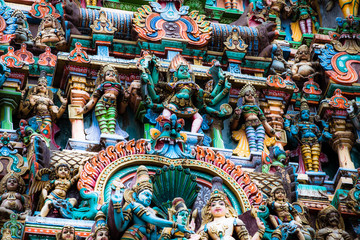 Details of Meenakshi Temple in Madurai, India.