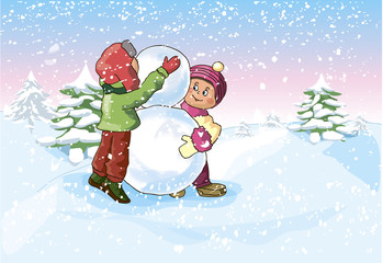 Boy and a Girl make a Snowman