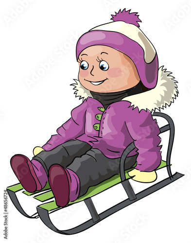 Girl riding on a sledge