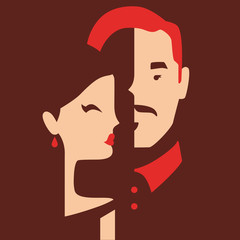 couple in love, boyfriend and girlfriend vector illustration