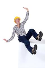 craftswoman falling down