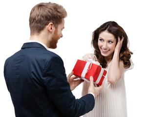Man makes present to his lovely sweetheart, isolated