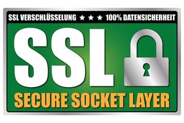 "Button ""SSL Security"" Grün/Schwarz/Silber"