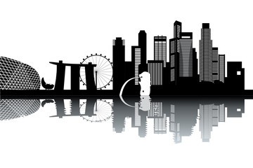 Singapore skyline - black and white vector illustration
