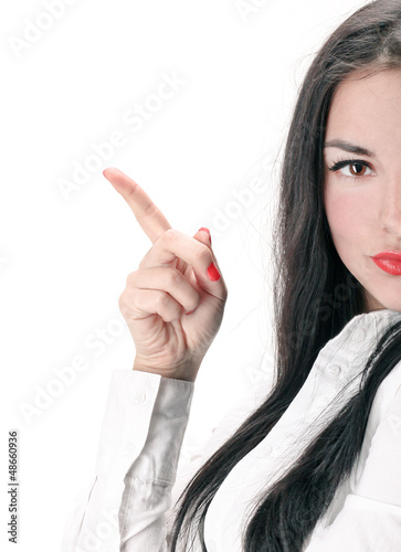 Concept of confident woman showing details in business