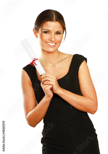 Beautiful woman student with diploma