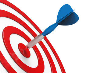 Blue Dart on Red Target Close-up