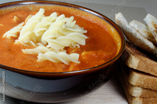 Fresh Homemade Tomato Soup with Pasta