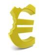 Eurozeichen in Gold zweimal abgebissen