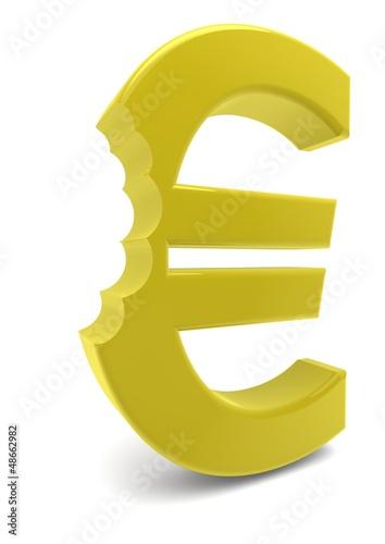 Eurozeichen in Gold einmal abgebissen