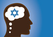 Thinking depicting Magen David, Religious Person, jew or israel