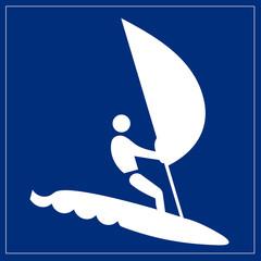 Schild blau - Windsurfen