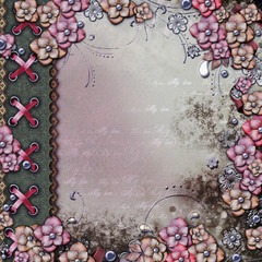 Old decorativealbum cover  with flowers and pearls