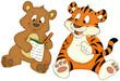 canvas print picture - Bär, Tiger, Freunde, Hausaufgaben