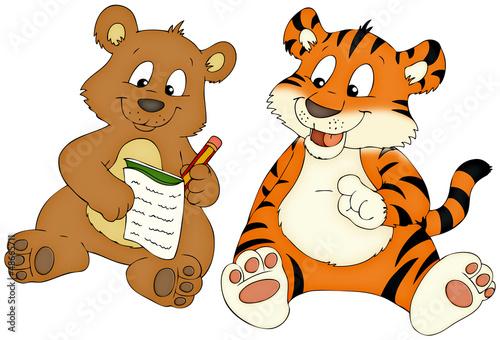 canvas print picture Bär, Tiger, Freunde, Hausaufgaben