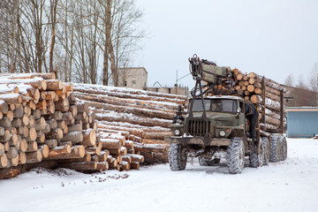 Log loader track with timber in lumber-mill in winter