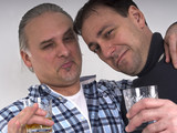 two friends drinking and having fun