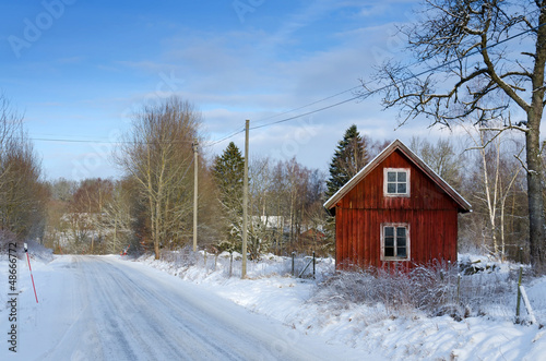 Swedish winter landscape from the road