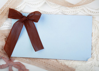 Card with bow and laces