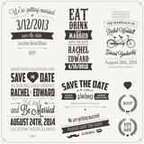 Set of wedding invitation vintage typographic design elements poster