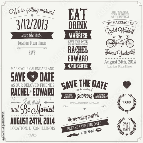 Foto op Aluminium Vintage Poster Set of wedding invitation vintage typographic design elements