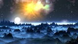 Moonrise on a foggy planet