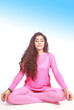 Yoga meditation, young woman in pretty pink