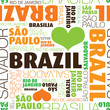 Seamless I love Brazil city text background pattern in vector