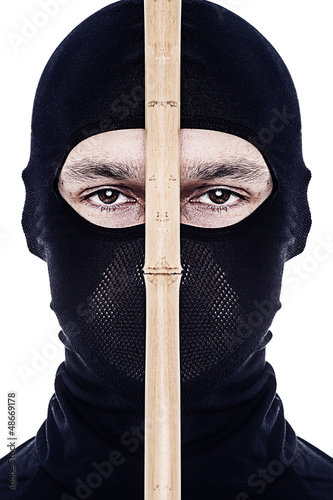 Close up portrait of male ninja