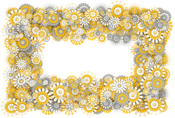 Frame from camomile flowers