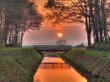 Sunset over bridge hdr