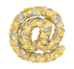 E-mail symbol from camomile flowers
