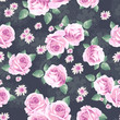 classical roses over lace seamless background