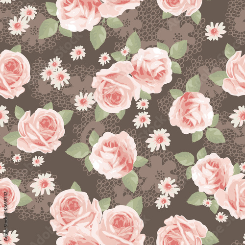 vintage roses over lace seamless background