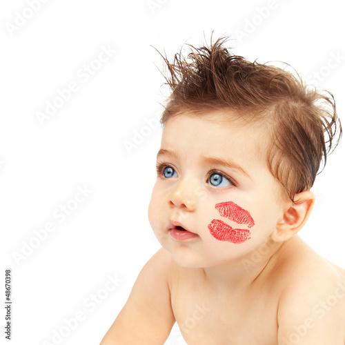 Baby boy with kiss
