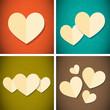 retro vintage style paper hearts