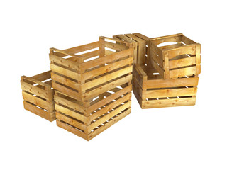 Wooden crates. 3D isolated