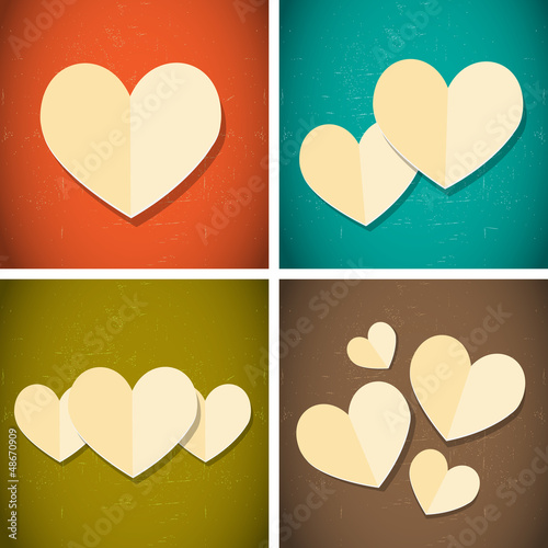 retro vintage style paper hearts