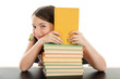 Elementary School Girl with Stack of Books