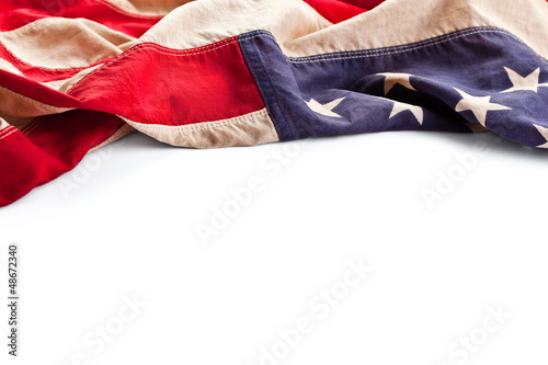 Vintage American flag border isolated on white background