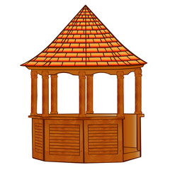 of a wooden gazebo on white