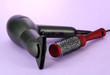 hair dryer and comb brush, on purple background