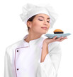 Portrait of young woman chef with cake