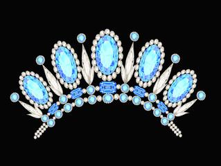diadem crown feminine form kokoshnik with blue stones