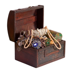 treasure trunk with jewellery