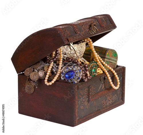 treasure chest  over white background