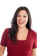 Beautiful happy Hispanic Woman Portrait isolated on white